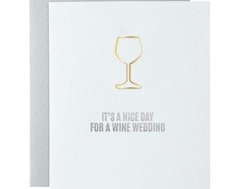 Funny. Wine Wedding Paper Clip Card. Letterpress Card
