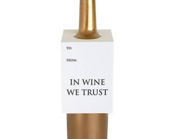Wine Lover Gift. In Wine We Trust Wine and Spirit Letterpress Tag - Set of Three - DISCOUNT PRICE!!
