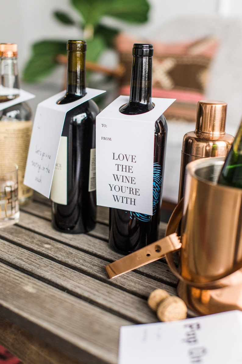 Love The Wine You/'re With Wine Letterpress Tags Set of Three Wine Lover Gift