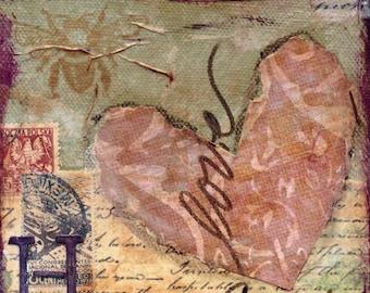 Heart Mixed Media - 6x6, 8x8 and 12x12 Print of Original