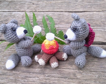 Amigurumi animal raccoons 2 PCs,campfire and marshmallows, crochet doll Raccoon, cute animal, doll,forest, nursery decor,wild in the spring