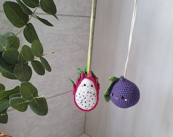 Figs & fruit dragon, Baby gym toys 2 pc,rattles Play Gym,baby shower, fruits Play Gym,Baby Rattle, nursery decor, fruit kawaii,knitted food