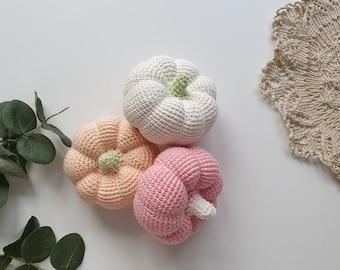 Crochet pumpkin 3 pcs, pastel colors, crocheted vegies, crochet  Pumpkin decor,Baby toys, Baby gift, Christmas gift, pumpkin decorations