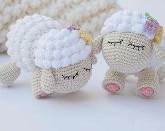 Crochet Sheep ,Crochet Toy, Amigurumi Sheep,Lamb Sheep Toy, Crochet Lamb,Sheep Plush Toy, Plush with Pink,Gift for a girl boy