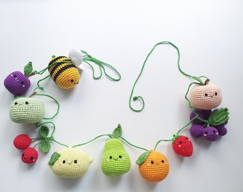 Crochet fruit garland, happy fruit , fruit garlands, garlands Children's baby shower, suspension toys, crochet bells, a gift for Easter