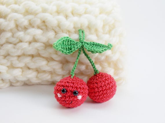 Crochet Cherry Play Food Kitchen Decoration Eco Friendly Etsy