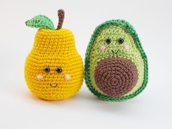 Avocado Und Birne Baby Rassel Häkeln Obst Spielzeug Baby Etsy