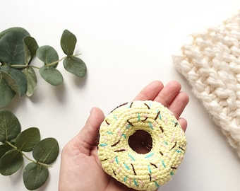 Crochet donuts 1 pcs, Baby Gift , Kids Play Food, Donut soft toy,  Crochet Food, Play Food, Pretend Play, Teething Toy, Play Food