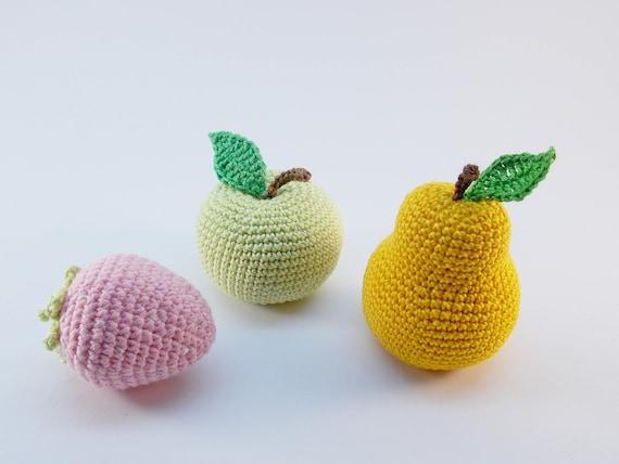 3 Stück Häkeln Früchte Rassel Spielzeug Kinder Lernen Etsy