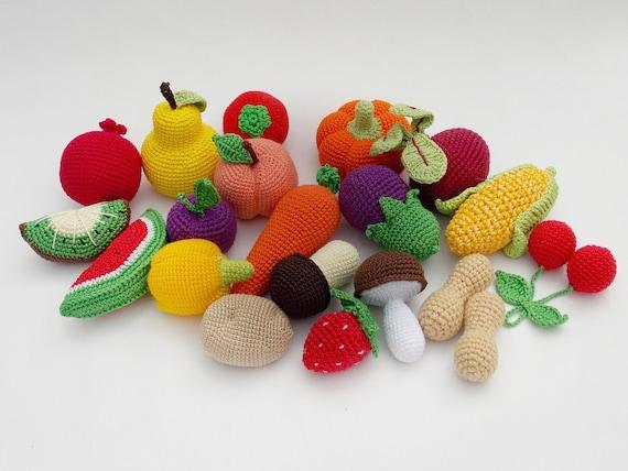 Häkeln Obst Und Gemüse Set 20 Stück Pretend Spielen Küche Etsy