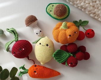 Crochet vegies,Rattle toys,  amigurumi soft toy,baby decor, play Food Set, baby gym toy,Pretend play,toddler toys, knitted veggies