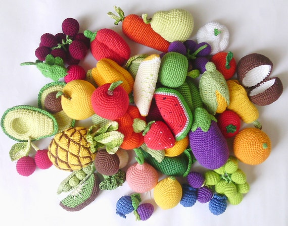 Häkeln Essen Set 36 Stück Häkeln Gemüse Und Obst Skitchen Etsy
