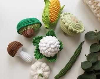 Knitted set vegetables 7 pcs - avocado,corn, garlic, mushroom, knitted toys, New baby gift, sensory toys, crocheted toys, crochet veggie