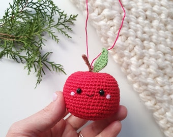 Crochet ornament, red apple kawaii, Christmas  ornament,kids gift,Christmas gift,Christmas decor, tree ornament, Xmas gifts