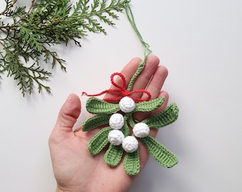 Christmas Decoration,Crochet Mistletoe ,Ornament Hanging,Traditional English,Winter Weddings,Decor Green,Christmas Mistletoe,Christmas gift