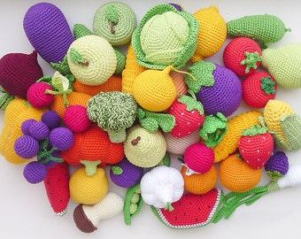 Crochet play food set (20 pcs), kitchen decor, vegetables and fruit ,Birthday Presents, Pretend play ,Summer Fun,Preschool Toys