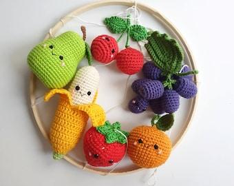 Baby mobile fruits, Baby Mobile, Baby Crib Mobile ,Modern Nursery mobile,  nursery decor crochet fruit, baby shower gift, gift for moms