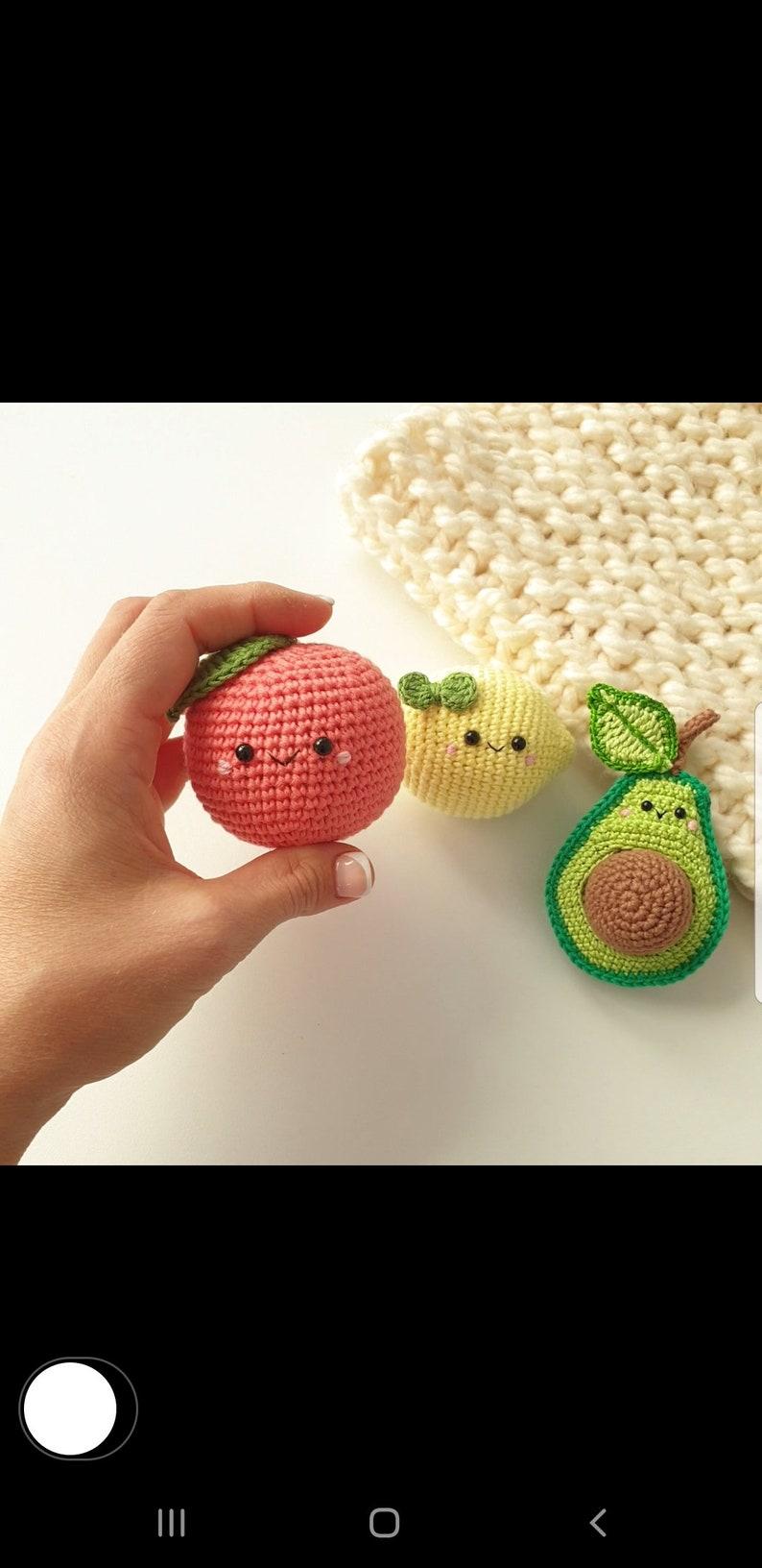 avocado lemon toy baby decor Crochet lemon,grapefruit Crochet fruits Rattle toys cute gift play Food Set kids gift kids toys