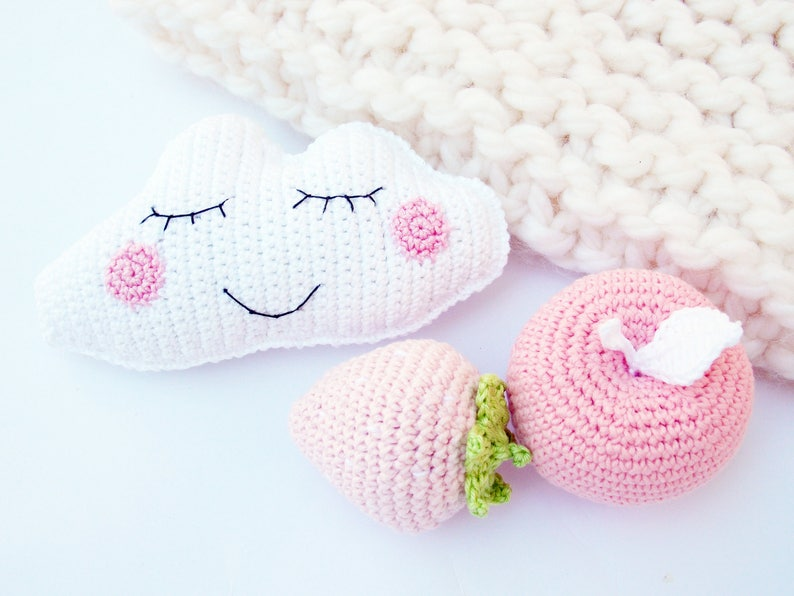 crochet toys,nursery decor Baby Rattles pink apple Sleeping Cloud,Pink strawberry happy cloud rattle,eco-friendly,RainbowHappiness