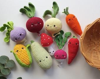 Crochet set vegies,kitchen decor,baby decor, kids gift, play Food Set, baby gym toy,Pretend play,toddler toys, kitchen decor ,knitted food