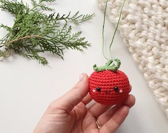 Christmas ornament, crochet  tomato ,baby decor, kids gift,Christmas tree ornament,Christmas ornament, tree ornament  toy,Christmas decor