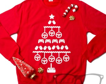 Adult's Geeky Christmas Jumper. Computer Gaming jumper. Christmas Jumper for Geeks
