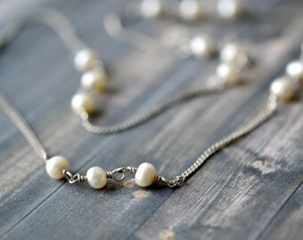 Sterling Silver and Genuine Pearl Beaded Chain Necklace