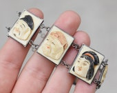 Sterling Silver and Carved Bone Japanese Seven Gods Panel Bracelet, Japanese Bracelet, Asian Sterling Panel Bracelet, Japan Carvings