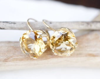14k Yellow Gold Yellow Gemstone Drop Earrings, 14k Gold Gemstone Earrings, Golden Gemstone Earrings, Yellow Gold Gemstone Jewelry