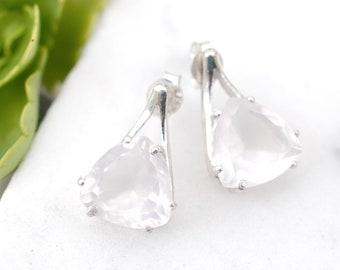 Modern Sterling Silver Light Pink Gemstone Earrings, Modernist Gemstone Earrings, Light Pink Jewelry, Wedding Earrings, Trillion Cut