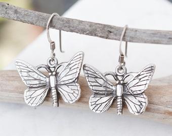 Sterling Silver Butterfly Dangle Earrings, Sterling Silver Moth Dangle Earrings, Insect Earrings, Insect Jewelry, Sterling Butterfly