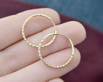 14k Thin Diamond Cut Hoop Earrings, Thin Gold Hoop Earrings, Thin 14k Hoops, Minimalist 14k Earrings, Minimalist Gold Hoops, 14k Minimalist