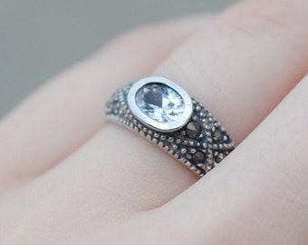 Marcasite cz ring | Etsy