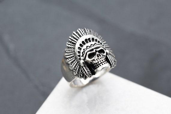 Sterling Silver Indian Chief Skull Biker Ring, Ste
