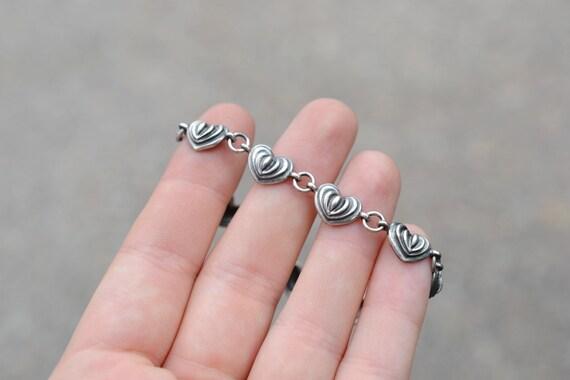 Sterling Silver Heart Link Bracelet, Sterling Hear