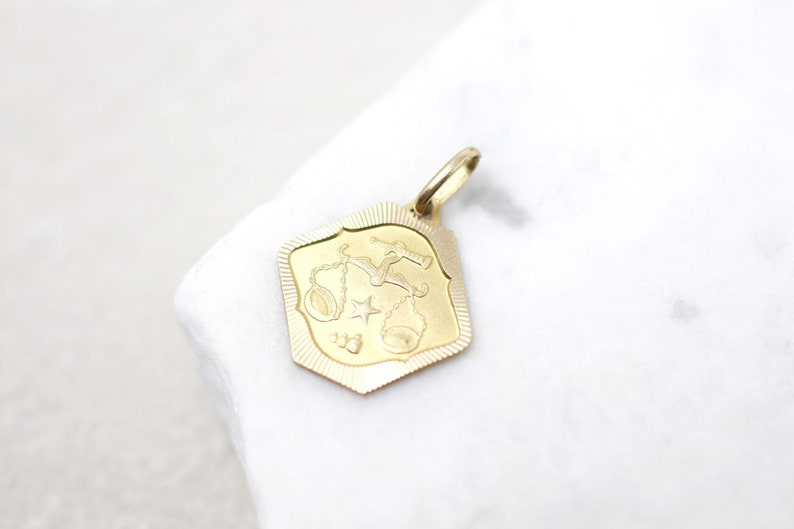 18k Justice Pendant Lawyer Jewelry 18k Yellow Gold Scales of Justice Charm 18k Libra Pendant Lawyer Charm 18k Yellow Gold Libra Charm