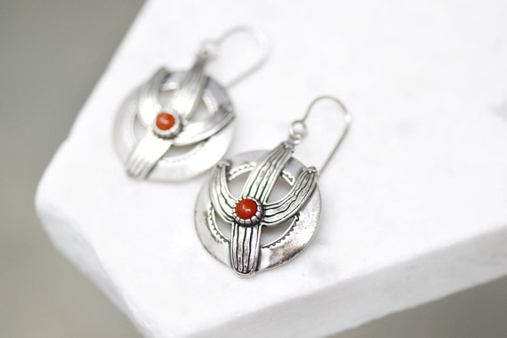 Sterling Silver Coral Cactus Dangle Earrings, Ster
