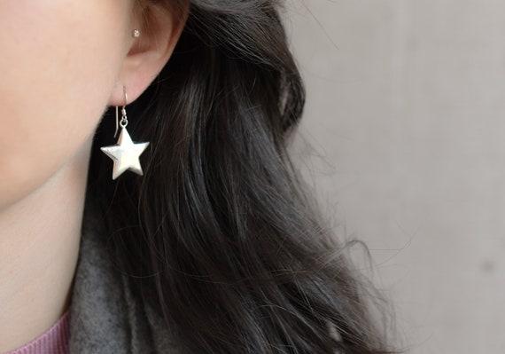 Sterling Silver Puffy Star Dangle Earrings, Sterli