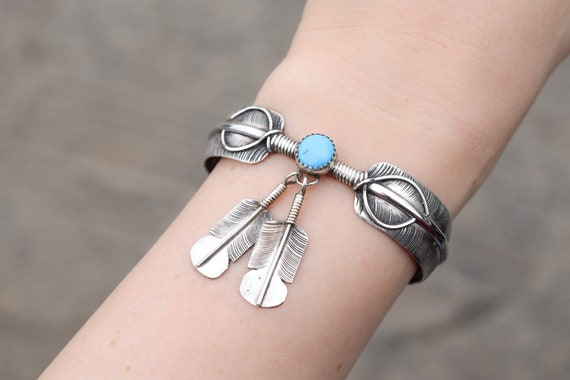 Sterling Silver Turquoise Dangle Feather Cuff Brac