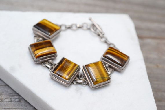 Sterling Silver and Tigers Eye Link Bracelet, Chun