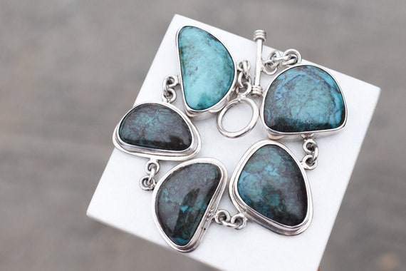 Sterling Silver and Chrysocolla Chunky Link Bracel