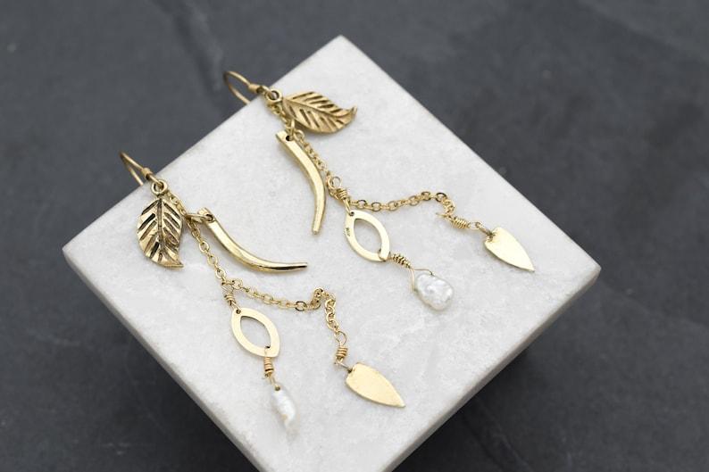 Bohemian Earrings Pearl Jewelry Sterling Silver Gold Overlay Freshwater Pearl Dangle Earrings Boho Pearl Dangle Earrings Leaf Earrings