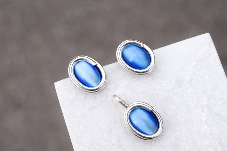 Sterling Silver Blue Cat Eye Pendant and Earring Set Cat Eye Necklace Oval Cat Eye Earrings Oval Cat Eye Sterling Pendant