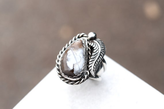 Sterling Silver Native American Leaf Ring, Old Paw