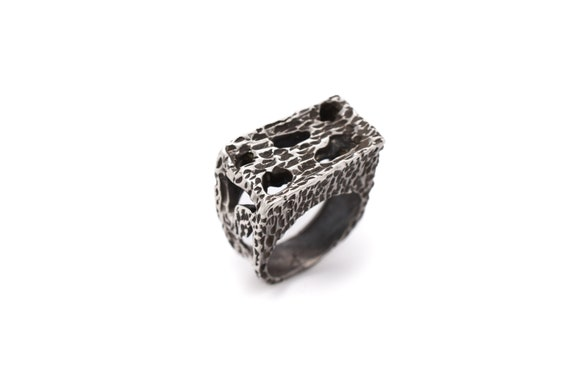 Heavy Sterling Silver Textured Statement Ring, Ste