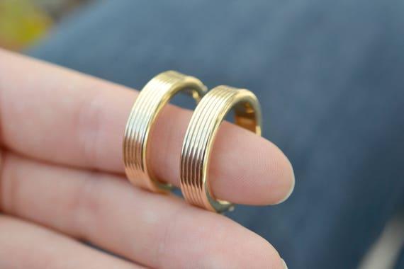 14k Yellow Gold Round Hoop Earrings, 14k Wide Hoop