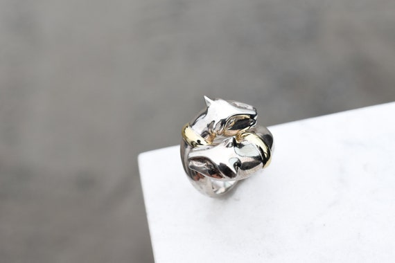 Sterling Silver and 18k Yellow Gold Double Panther