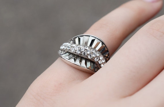 Sterling Art Deco CZ Marcasite Statement Ring, Art