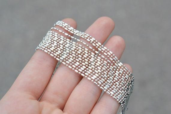 950 Silver Wide Flexible Bar Bracelet #8066