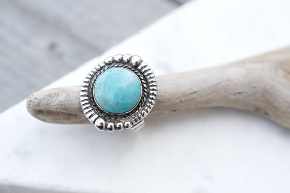 Sterling Silver Round Turquoise Ring, Native Ameri